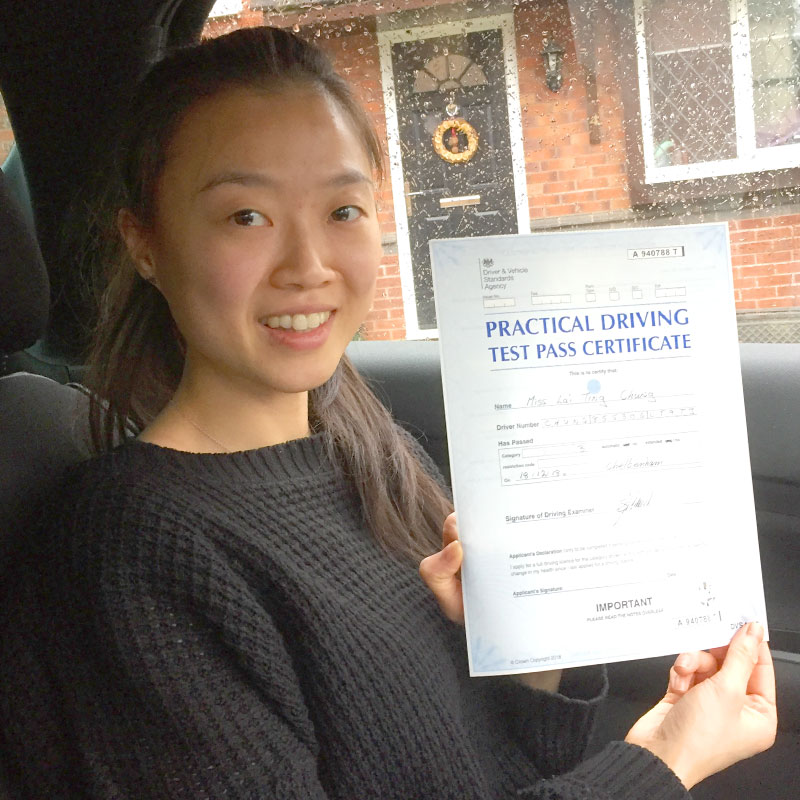 I enjoyed every driving lesson I had with Mat and so happy to have had him as my instructor.  He not only helped me passed but also taught me how to be a safe driver and boosted my confidence. Sarah Chung.