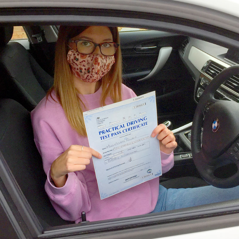 Agata Polska passed her driving test in Evesham with Mat Clarke.