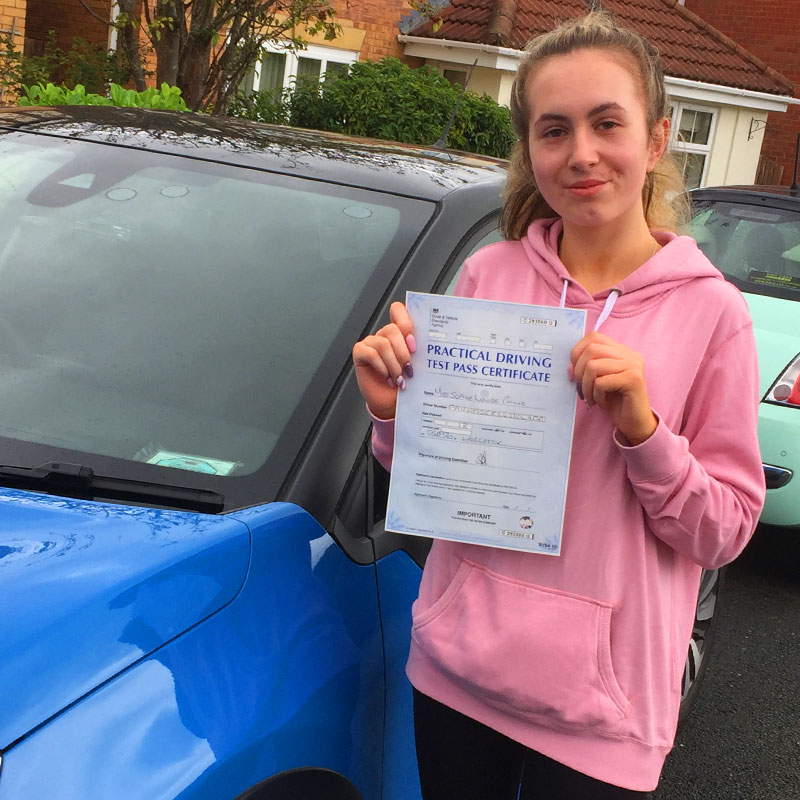 Congratulations to Sophie Payne on passing the driving test with Matt Clark in Evesham!