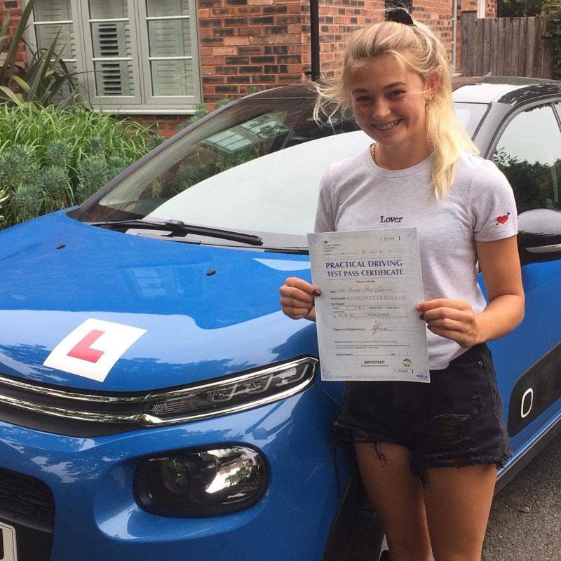 Ellie Godwin passed her driving test with Matt Clark at Cheltenham test centre.
