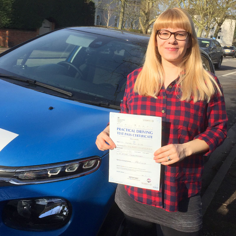 Katie Budd passed her driving test in Evesham with Mat Clark.