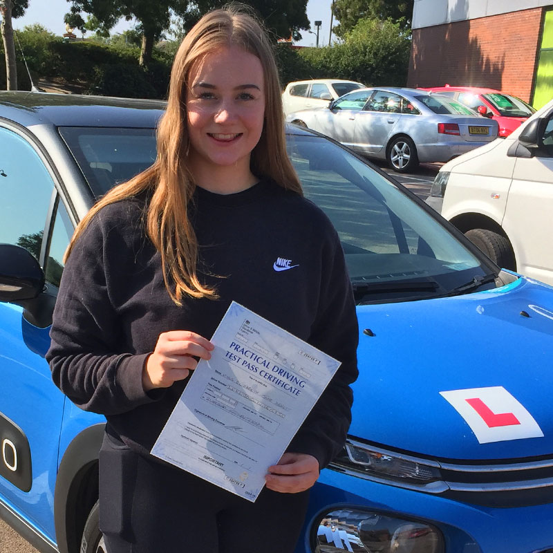 Lily Annett driving pass with Mat Clark in Evesham.